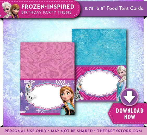 Frozen Food Tent Cards Dessert Candy Table Labels