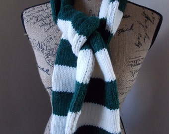 Green Striped Scarf, green and white striped knit scarf made from wool and alpaca blend yarn, perfect for football games and winter walks