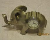 Pewter Elephant Elgin Clock