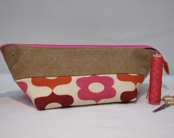 Quilted Linen Cosmetic Bag with Extended Zipper