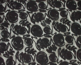 """Black lace ribbon roses polyester fabric 56"""" wide - BTY"""