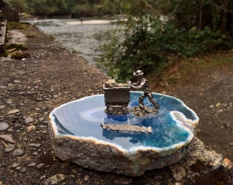 Vintage YUKON Souvenir Pewter Miner on a Rock