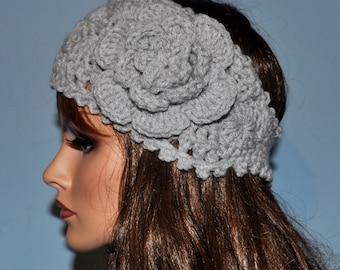 Crochet Ear Warmer, Handmade Crochet Headband with Flower. Fall and Winter, Style 1WF
