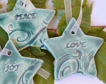 IN STOCK, 6 Ceramic Star Christmas Ornaments, Stamped Clay Holiday Decoration, Peace Love Joy Gift Tags, Holiday Decor