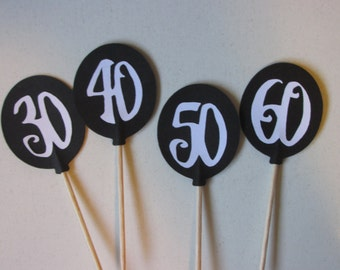 12 Over the hill birthday balloon toppers, 30th birthday topper, 40th topper, 50th topper, 60th topper