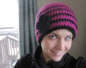 Hot Pink and Black Crochet Women's Hat with Flower