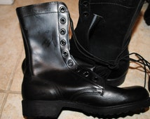 New Vintage 1972 Vietnam war - US Army Black Leather Combat Boots - Size 8R