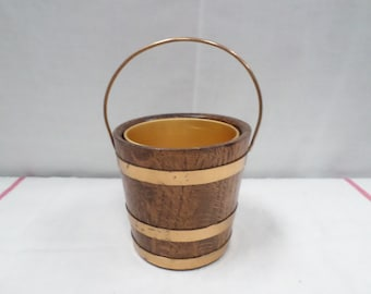 Oak & Copper Ice Bucket signed Geraud Lafitte circa 1933 (v133)