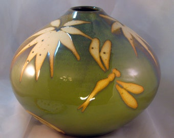 Short Green Bamboo & Dragonfly Vase