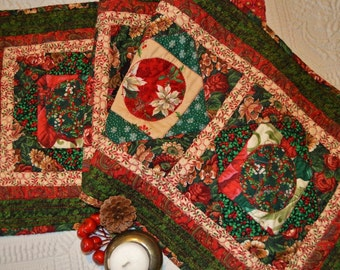 Christmas Nostalgia Tablerunner #3  Quilted Reds and Greens