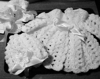 Baby Sweater, Booties and Hat Set Handmade, Crochet