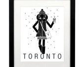 Toronto art print, 11 x 14, black and white, fashion illustration, Toronto