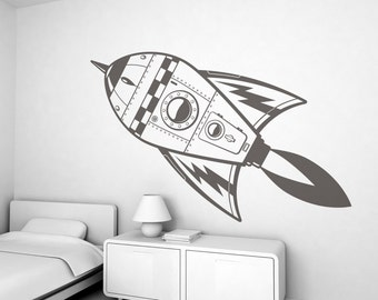 Espace fusée Kids Wall Sticker (livraison gratuite) - grand Stickers muraux d'enfants pour chambre d'enfant garçon