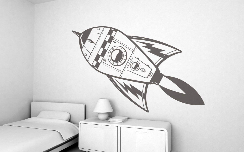Space rocket kids wall sticker free shipping large for Sticker decorativos para ninos