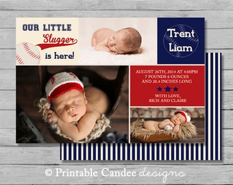 Baseball Baby Birth Announcement Photo Card - DIY Custom Printable