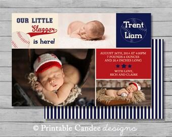 Baseball Baby Birth Announcement Photo Card - DIY Custom Printable