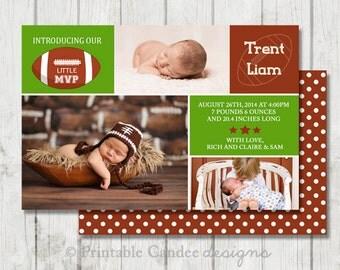 Football Baby Birth Announcement Photo Card - DIY Custom Printable