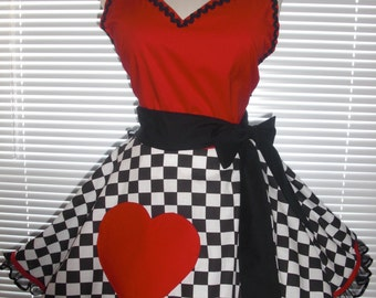 Sexy Costume Apron Retro Extra Full Circular Skirt Queen of Happy Hearts Apron - Ready to Ship
