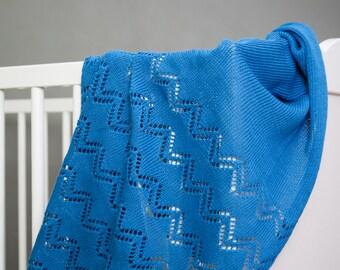 Organic Cotton Baby Blanket / Blue Baby Blanket / Blue Knit Cotton Blanket / Fine Baby Blanket / Gift for Baby Boy / Gift for Newborn