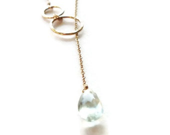 Gold Filled Hammered Circle Lariat - Everyday Necklace - Gold Filled Gemstone Necklace - Gold Necklace