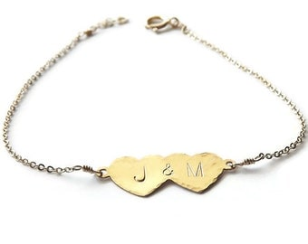 Gold Double Heart Bracelet - Personalized Sweetheart Bracelet - Personalized ID Bracelet - Bridal Shower Gift - Wedding