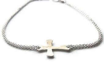 Dainty Hammered Sterling or Gold Filled Cross Bracelet - Religious Bracelet - Mix Metal Sideways Cross