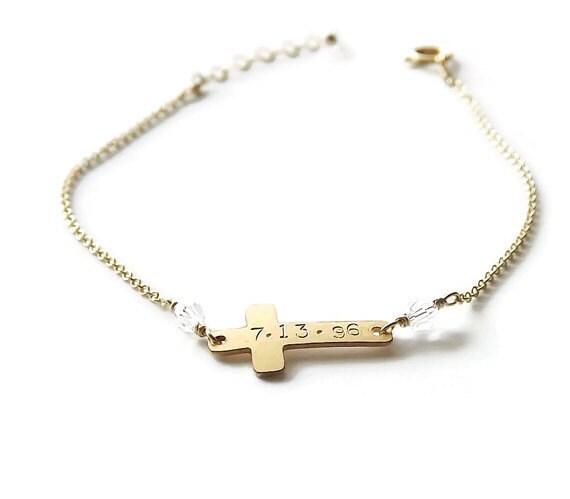 Personalized Bracelet - Hammered Gold Filled or Sterling Cross Bracelet - Gold Name Bracelet - Religious Bracelet