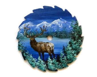 Miniature Saw Round Saw Magnet Mountain Winter  ELK