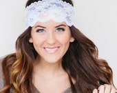 Wide White floral  Lace Headband  READY TO SHIP Today