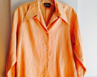 Designer Ronaldus Shamask Soft Apricot Ladies Linen Shirt / Vintage 1980's 100% Linen Designer Shamask Blouse / Petite Linen Blouse