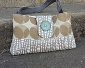 Handbag Purse Tote with Blue Button in Grey and Brown