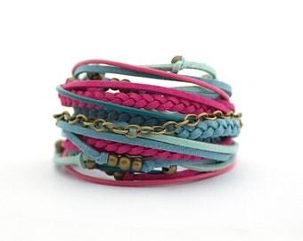 Summer Bracelet, Ruby Fuchsia Wrap Bracelet, Purple Turquoise Boho bracelet, Denim Gypsy Bracelet, double wrap, boho chic