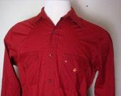 Vintage Mens Western Shirt 1950s Ely Cattleman Rocker Pearl Snap Size S/M