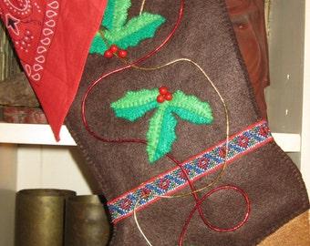 Handmade brown felt cowboy boot, Christmas stocking