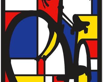 "Mondrian Dutch Bicycle poster, Illustration, print 11x14"""