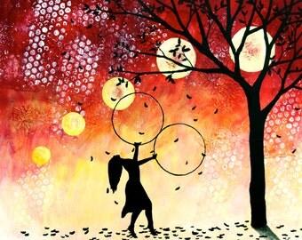 Autumn Hooper-8x10 Art Print-Hula Hoop Art-Tree Painting-Hula Hooper Painting-Dancer Painting