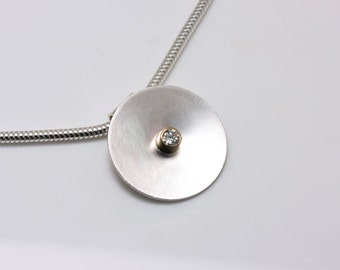 Sterling Silver Cosmos Pendant with Diamond in 14k Gold on Snake Chain