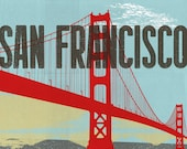 "San Francisco Golden Gate Bridge Red Blue: 8"" x10"" Print"