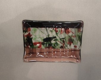 Fused Glass Purple Leafy Soap Dish - BHS03121
