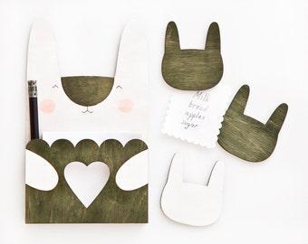 Green Magnets, Bunny Fridge magnets, Rabbit to do list, Valentine's Day gift