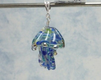 Blue Lampwork Glass Jellyfish Pendant