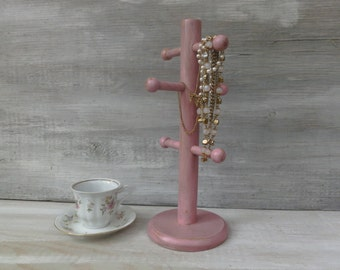 Upcycled Necklace Stand/ Mug Tree in Distressed Pink
