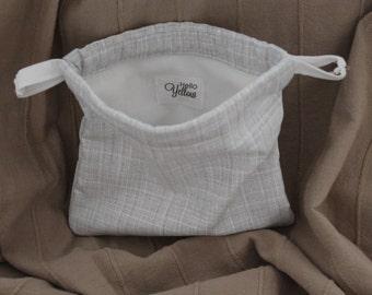 Small Drawstring Bag - Gray Check with White Lining