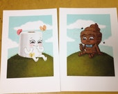 "Poopy and TP - Pair of 5""x7"" limited edition Giclee prints"