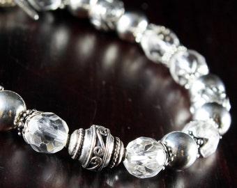 Rock Crystal bracelet, Sterling Silver, crystal clear gemstone, fine statement bracelet, bridal, wedding, gift for her, mother's gift,BR2669