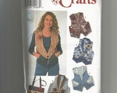 1996 Simplicity Pattern 7151 Misses Vest and Bag Sizes 12, 14, 16