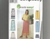 Simplicity pattern 9139 Misses Skirt Pants Shorts size xs, s, m, l. xl