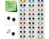 Any 3 Pairs - 9mm Matte Stud Earrings - Choose Your Colors - Small Everyday Wear Ear Studs - Simple Post Earring - Unisex Earrings