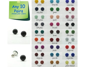 Any 10 Pairs - 9mm Matte Small Stud Earrings -  Choose Your Colors - Everyday Wear Studs - Simple Cute Post Earrings - Stainless Steel Post