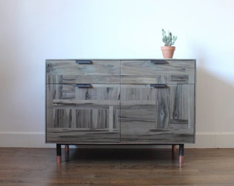 Patchwork Maple Wine Storage Credenza - oxidized maple